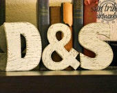 Wooden Letter Set of 3 Three 5 inch wood letters ANY COLOR Any Letter Distressed or Solid