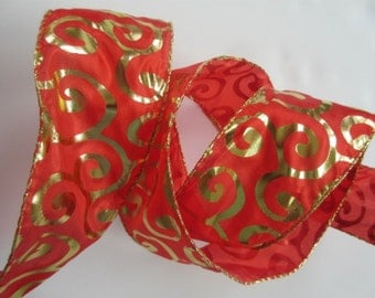 "Red Ribbon with Gold Scroll Metallic Ribbon Wired 2 1/2"" inch wide Orange Christmas Ribbon Holiday Wreath Ribbon Tree  Home Decor LC052"