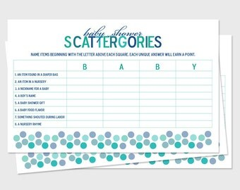 baby shower scattergories game boards sprinkle shower theme