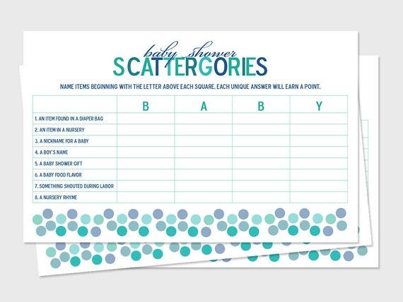 Printable Baby Shower Scattergories Game Boards Sprinkle