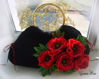 Felted wool bag-Felted wool purse- Red poppies-Felted purse-Felt bag-Wet felted bags-flower bag-black-red