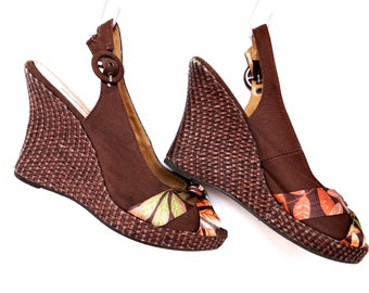 Vintage Summer Brown Wedge Platform Floral Sandals