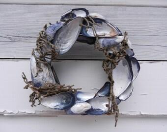 "Unique Mussel Shell Wreath - 7"" in diameter - California Shells"
