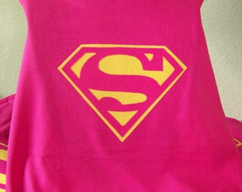 Super Girl cape, Superhero Cape, Super girl costume, Pink cape, dress up, DC Marvel comics cape