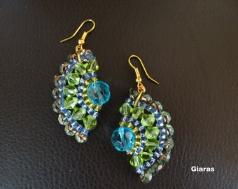 Earrings made of beads blue and green veranegos