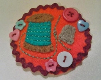 Handmade Felt Sewing themed Brooch