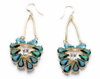 Green Statement Earrings / Chandelier Earrings / Teal Earrings