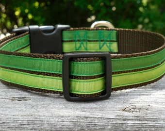 Forest Green Striped Adjustable Nylon Dog Collar