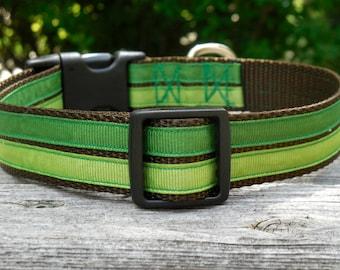 Forest Green Striped Adjustable Nylon Dog Collar