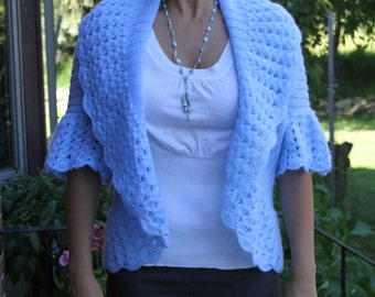 Knitted sweater. Womens knitted bolero. Knitted adult cardigan. Blue knit sweater. Knitted short sleeve sweater. Cable knit bolero. Size M