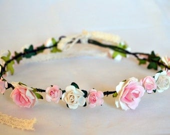 Flower crown perfect for weddings or festivals, pink and white small and large flowers. Will ship worldwide.