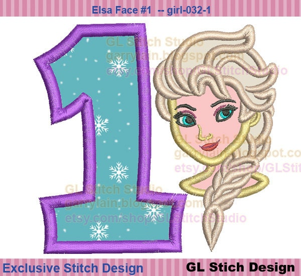 Frozen elsa face applique design queen st by mycuteembroidery