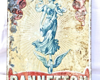 """Antique French Advertising Sign """"Cycles Pannetton"""""""