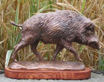 Bronze sculpture of Wild Boar 11.41'' -  7.87''