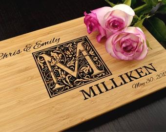 Monogram Cutting Board, Custom Wedding Gift, Anniversary Gift, Personalized Wood Chopping Block, Housewarming Engagement Gift, Kitchen Decor