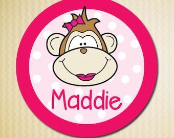 Monkey Personalized Melamine Plate, Kids Plates, Custom Plate for Girl, Christmas Gift Girls,