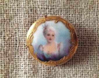 Victorian Porcelain Brooch
