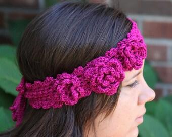 crochet headband, pink boho headband, flower headband, shaby chic, cranberry headband, hair accessory, womens headband, green creek gifts