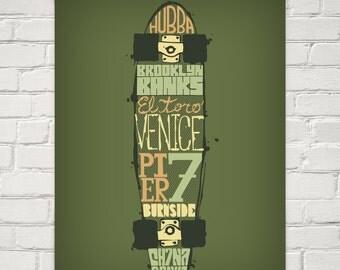 Skateboard Typography Print