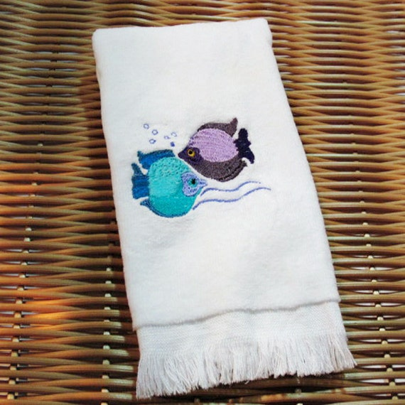 Tropical Fish Fingertip Guest Towel Embroidery Handmade