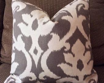 Handmade Decorative Pillow Cover - Anoko Greystone - Richloom Platinum Collection - Ikat