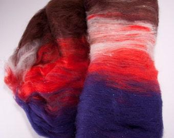 Spinning/Felting batt: Big Tex - merino wool, bamboo, angelina - 3.5 oz