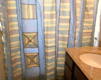 """Blue shower curtain, patchwork shower curtain, 77"""" x 70"""", ready to ship"""