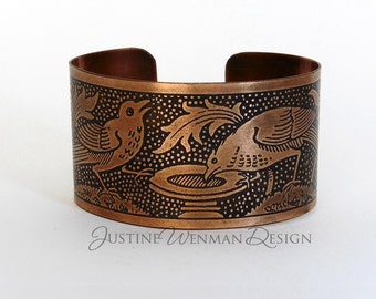 Copper Cuff Etched w/ Birdbath, Nature Scene, Birds Singing, Floral, Woman's Bracelet