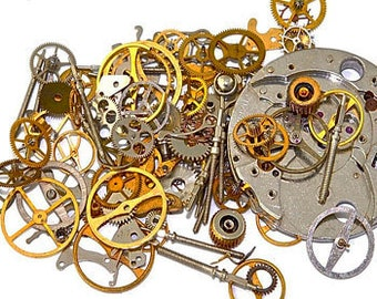 Steampunk Art Supplies - Watch Parts and Gears for the Steampunk Craft; Gears, Cogs, Rubies, Wheels, Dials & More! Made in Switzerland 1940s