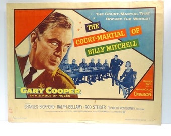 1950s Gary Cooper Vintage Movie Theater Poster The Court-Martial of Billy Mitchell