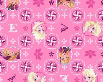 Frozen Sisters Disney Glitter Fabric Anna Elsa