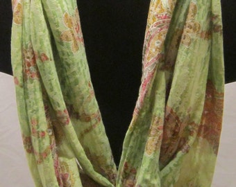 Green Paisley Jersey Knit Infinity Scarf