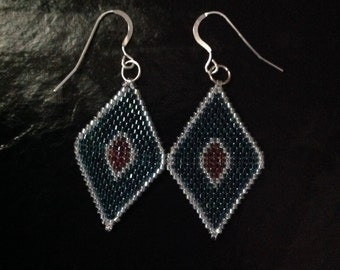 Beaded Diamond Shaped Earrings - Forest Green and Wine