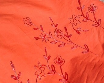 Coral Embroidered Cotton Fabric by the Yard