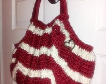 Handmade Crimson & Cream Fat Bottom Hobo Crochet Purse- READY TO SHIP!!!