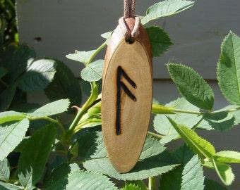 Wooden Pyro'ed Ansuz Rune Pendant