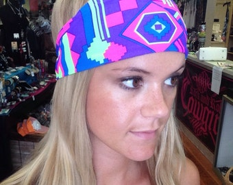 Colorful headband, Aztec headband, Tribal headband, Aztec Print, Tribal Print, Summer headband, Fun Headband, Pink Headband, yoga headband