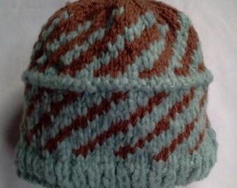 hand knit hat of soft bamboo yarn