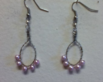 Because You're Pretty In Pink   ....... Pink Glass Pearl and Silver Oval Hoop Earrings