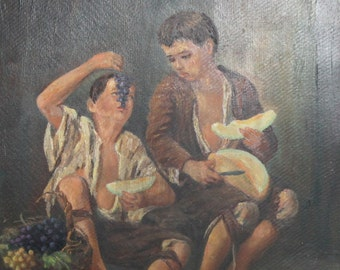Bartolome Murillo, Beggar Boys eating Grapes and Melon, Vintage oil painting