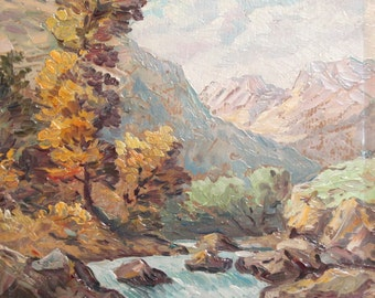 Vintage oil painting river landscape signed