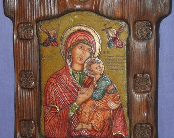 Orthodox ornate hand made icon Jesus Christ Child Virgin Mary