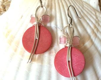 Pretty Earrings, Pastel Earrings, Pink Drop Earrings,  Pink Jewelry, Pastel Pink, Pastel Jewelry, Feminine Earrings, Pastel Pink
