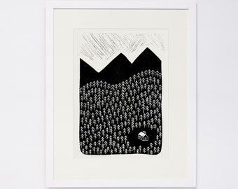 HOME, Linocut Print