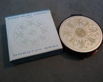 Vintage Dorothy Gray Sheer Velvet Compact Dusty Rose NEW IN BOX