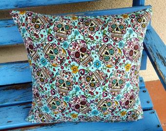 Sugar Skull Pillow Rockabilly Cushion Cover Mexican Day of the Dead Kustom Los Muertos Pop Art Men's Unisex Gift Home Decor