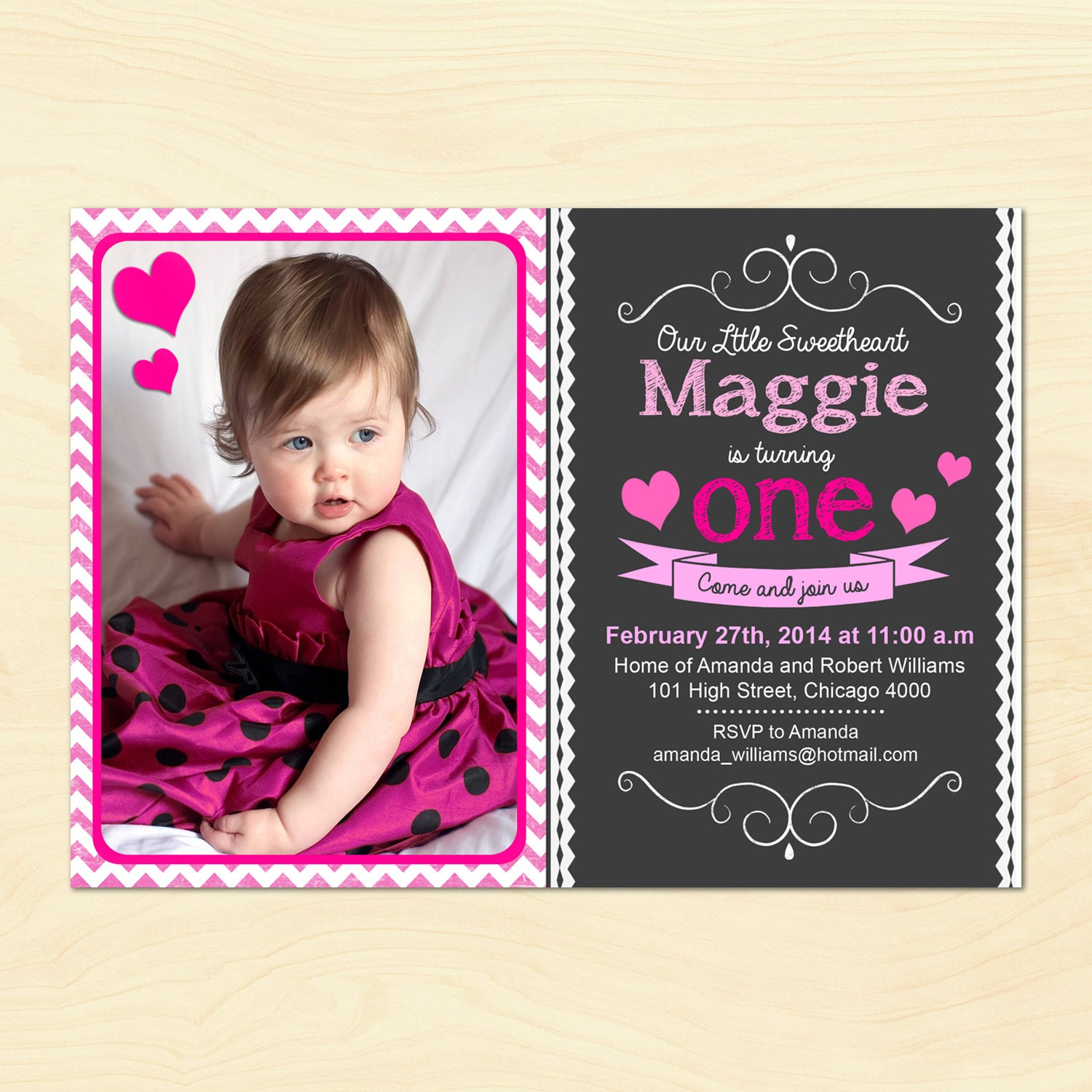 First Birthday Party Invitation / 1st Birthday / One / For Girl ...