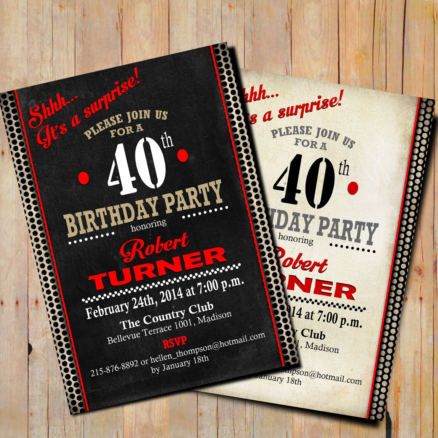 40th Surprise Birthday Invitation / 50th / 60th / 70th / 80th