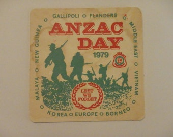 Vintage ANZAC Day 1979 beer coaster. Used, stained. Three available