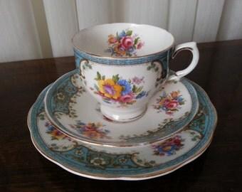 Vintage Salisbury Bone China, 3 Piece Set, Tea Cup, Saucer & Cake Plate